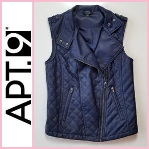 NWOT Apt. 9 Faux Leather Quilted Moto Vest
